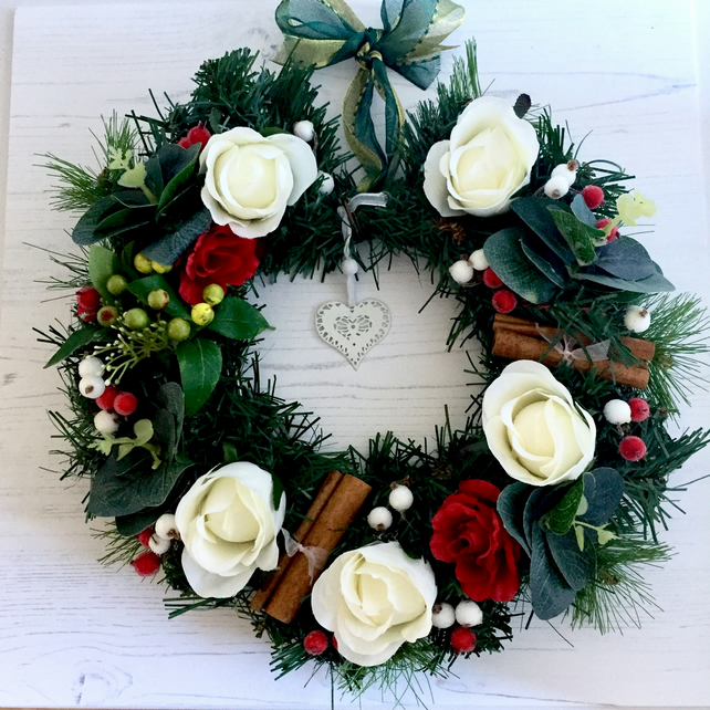 SOLD Xmas Wreath with Faux Fir, Faux White & Red Roses & Berries (12x12 inch)