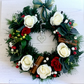Christmas Wreath with Faux Fir, Faux White & Red Roses and Berries (12x12 inch)