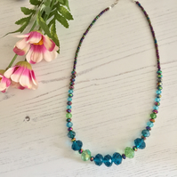 Green Blue Purple Peacock coloured Glass Beaded Necklace