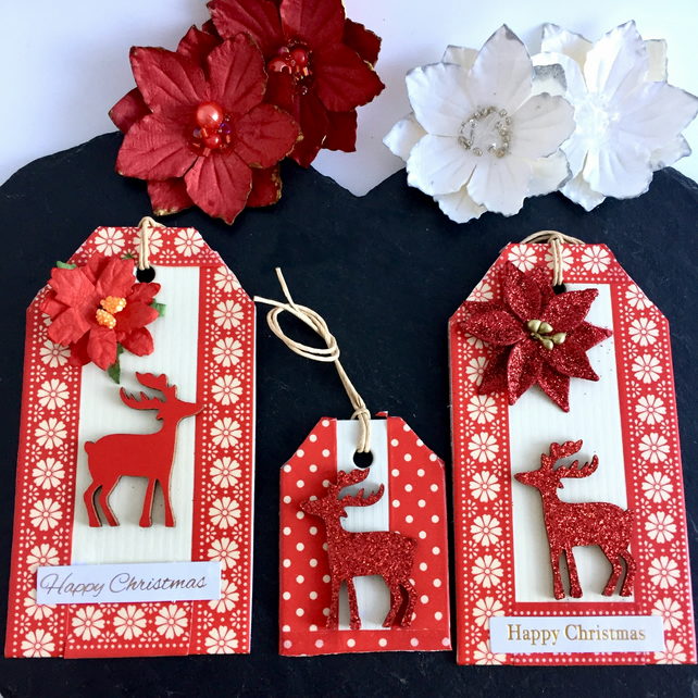 SOLD Red Poinsettias and Reindeer Christmas Gift Tags - set of 3