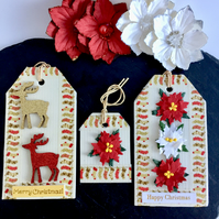 Red, White & Gold Poinsettias and Reindeer Gift Tags - set of 3