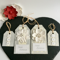 White Flower & Silver Sparkle Christmas Gift Tags - set of 4