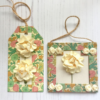 Cream Paper Roses Mini Frame Picture and Gift Tag