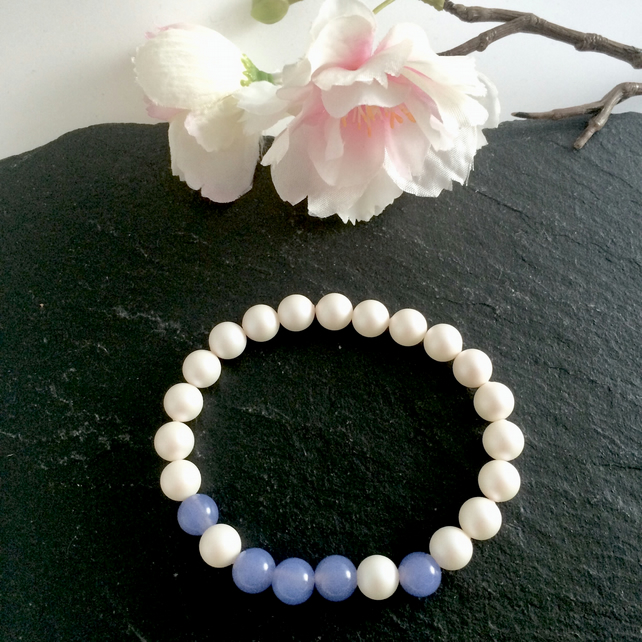 White Pearl and Pale Blue Jade Stretch Bracelet