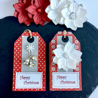 Red and Grey Xmas Gift Tags with White Flower and Silver Bells - set of 2