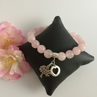 Rose Quartz & Sterling Silver Heart & Tree of Life Charms Bracelet