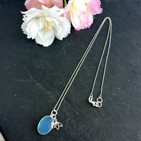 Sterling Silver Necklace with Lotus Flower Charm and Blue Chalcedony Pendant