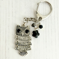 Silver Plated Owl with Black Crystals Keyring or Bag Charm