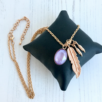 Long Rose Gold Plated Chain Necklace with Leaves and Lilac Swarovski Crystal