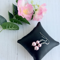 Sterling Silver Earrings with Swarovski Powder Pink Pearls