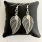 Surgical Steel Earwires with Silver Plated Filigree Leaf Drop