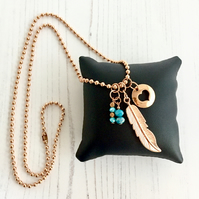 Long Rose Gold Plated Chain Necklace with Leaf, Heart & Turquoise Charms