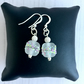 Sterling Silver Earrings with Clear Semi Opaque Lampwork Glass Bead