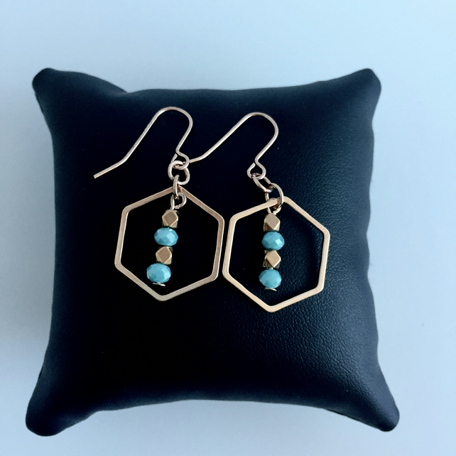 Rose Gold & Aqua Geometric Earrings