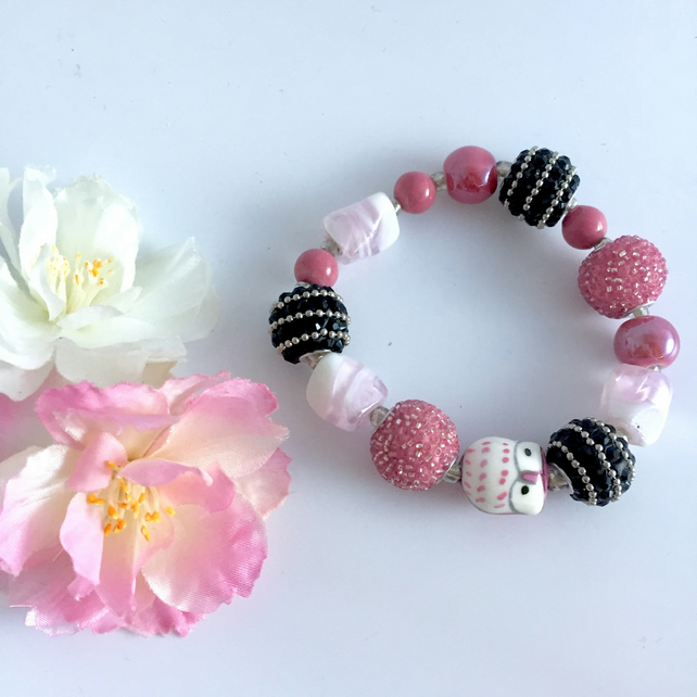 Pink and Black Beaded Stretch Bracelet