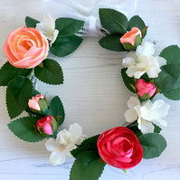 White, Pink & Peach Floral Whitewashed Willow Wreath (8 x 8 inches)