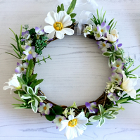 Spring Floral White, Green and Lilac Rattan Wreath (8 x 8 inches)
