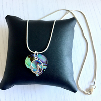 Silver Chain Necklace with Paua Shell Heart Pendant & Silver Bird Charm