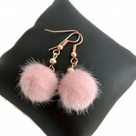 Rose Gold Plated Earrings with Dusky Pink Fluffy Pompom