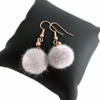 Rose Gold Plated Earrings with Pale Grey Fluffy Pompom
