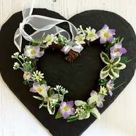 Spring, Summer Floral White, Green and Lilac Heart Rattan Wreath (6 x 6 inches)