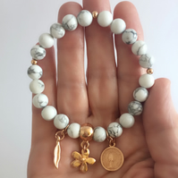 White Howlite Gemstone and Rose Gold Plated Charms Stretch Bracelet