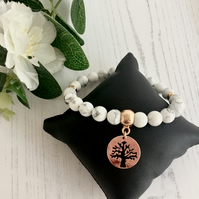 White Howlite Gemstone Bracelet with Rose Gold Plated Tree of Life Charm