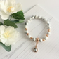 White Howlite Bracelet with Rose Gold Plated Beads & Swarovski Crystal Charm