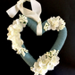 Heart Decoration with Teal Green Cotton Yarn & Cream Faux Flowers (8 x 8 inches)