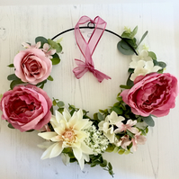 Wall or Door Hoop with Faux Cream & Pink Flowers & Greenery (14x14 inches)