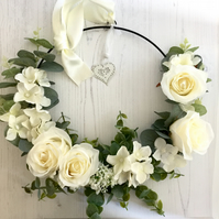 Wall or Door Hanging Hoop with Faux Cream Flowers & Greenery (14x14 inches)