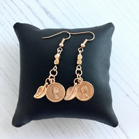 Rose Gold Plated Earrings with Leaf & Coin Charm Drops