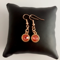 Rose Gold Plate and Orange Swarovski Crystal Drop Earrings