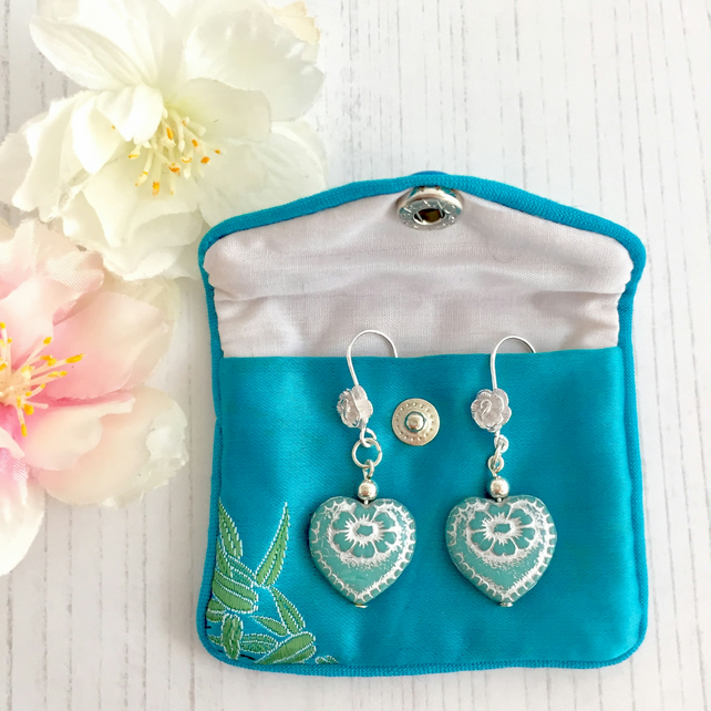 Sterling Silver Rose Earrings with Heart Shaped Aqua Czech Glass Beads
