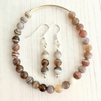 Botswana Agate and Sterling Silver Bracelet and Earrings Set