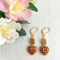 Gold Plated Earrings with Gold & Red Heart and Gold Oblong Czech Glass Beads