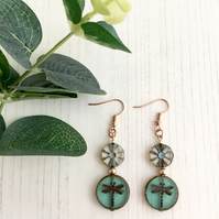 Rose Gold Plated Earrings with Aqua Dragonfly & Daisy Czech Pressed Glass Beads