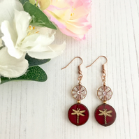 Rose Gold Plated Earrings with Ruby Dragonfly & Pink Daisy Czech Glass Beads