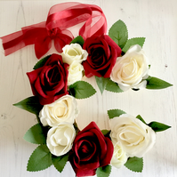 Wooden Letter C filled with Red and White Faux Roses