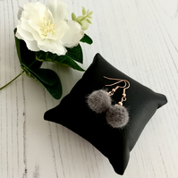 Rose Gold Plated Earrings with Dark Grey Fluffy Pompom