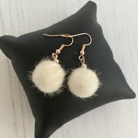 Rose Gold Plated Earrings with Cream Fluffy Pompom