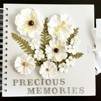 White Memory Book, Photo Album or Scrapbook with White Faux Flowers (8x8 inches)