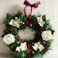 Xmas Wreath with Faux Fir, White Roses, Berries & Pine Cones (12 x 12 inch)