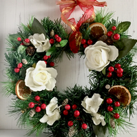 Xmas Wreath with White Roses, Berries, Pine Cones, Orange Slices (12 x 12 inch)