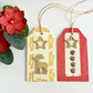 Cream, Red & Gold Christmas Gift Tags with Reindeer & Gold Stars - set of 2