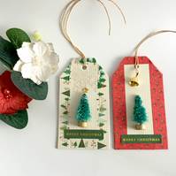 Christmas Tree Gift Tags with Gold Bell & Sparkly Decoration - set of 2