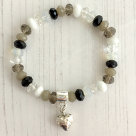 Monochrome Crystal Beaded Stretch Bracelet with Sterling Silver Heart Charm