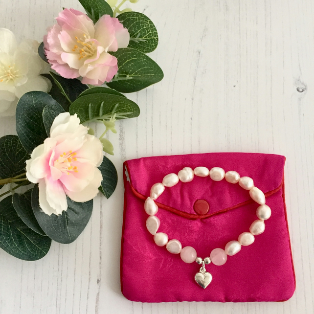 Cream Freshwater Pearl and Rose Quartz Bracelet with Sterling Silver Heart Charm