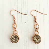 Rose Gold Plate and Light Grey-Brown Swarovski Crystal Drop Earrings