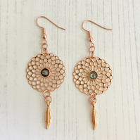 Rose Gold Plated Earrings with Filigree Flower Drop, Swarovski Crystal & Leaf